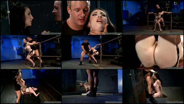 ... including nipple clamps, pussy whipping and a brutal ass caning.